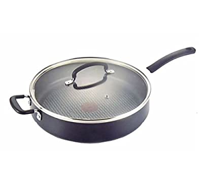 T-fal 1092330 Specialty Nonstick Dishwasher Safe Oven Safe Jumbo Cooker Saute Pan with Glass Lid Cookware, 5.5-Quart, Black