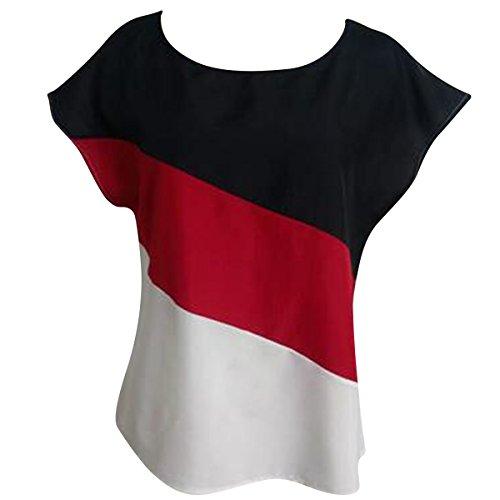 D't Red en Laches Tops Courtes Femme Chemisier Manches De Shirts pour T Mousseline Soie ISwwOq6x