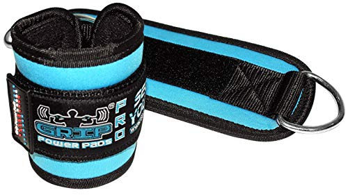 Grip Power Pads Best Ankle Straps for Cable Machines Double D-Ring Adjustable Neoprene Premium Cuffs to Enhance Legs, Abs & Glutes for Men & Women (Skye Blue, Single)