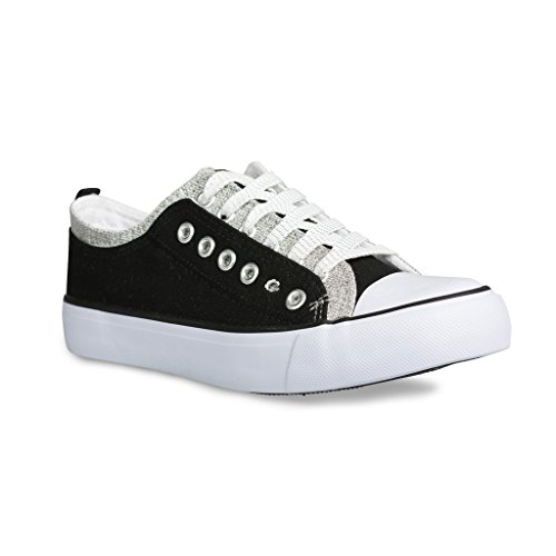 Twisted Women's Double-Up Two Tone Canvas Fashion Sneaker – BLACK/PEWTER, Size 10