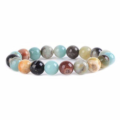 Justinstones Natural Multi-Color Amazonite Gemstone 10mm Round Beads Stretch Bracelet 7 Inch Unisex