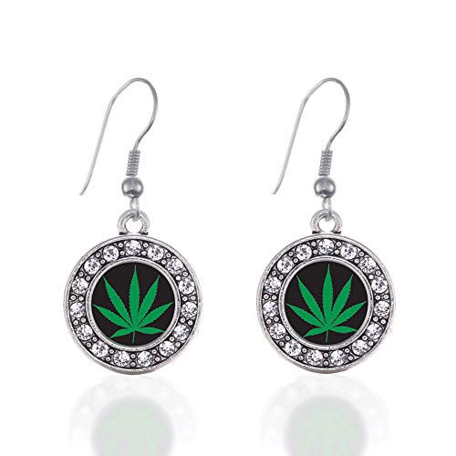Inspired Silver - Marijuana Leaf Charm Earrings for Women - Silver Circle Charm French Hook Drop Earrings with Cubic Zirconia Jewelry