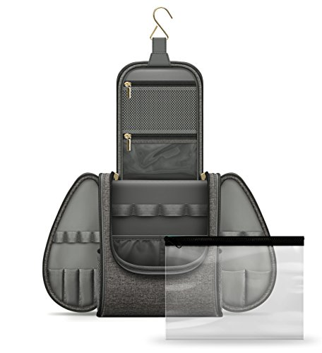 Hanging Travel Toiletry Bag for Men & Women - Waterproof Mens Toiletry Kit for Travel with Clear Bag TSA & Airline Approved - Toiletry Organizing Case for Traveling
