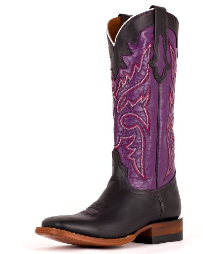 Lucchese Since 1883 Women's M3612,Black Oil Calf/Purple,US 8 C