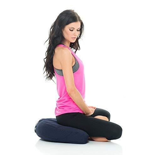 Awaken Meditation Hand & Machine Washable Crescent Zafu Yoga Cushion Filled with Buckwheat - 100% Cotton (Blue)
