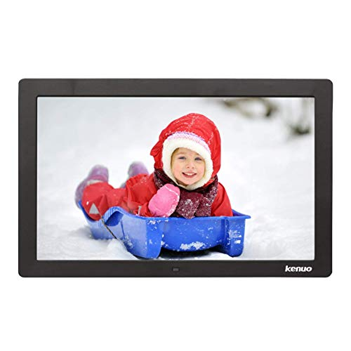 Digital Photo Frame 15 Inch,Kenuo Advertising Media Player 16:9 with 1280 x 800 HD LED Screen & Remote Control and Auto On/Off Timer – Black