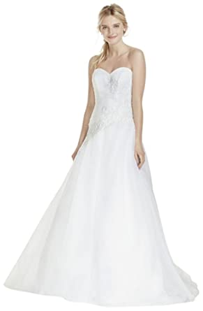 David\'s Bridal Strapless Tulle Wedding Dress with Lace Applique ...