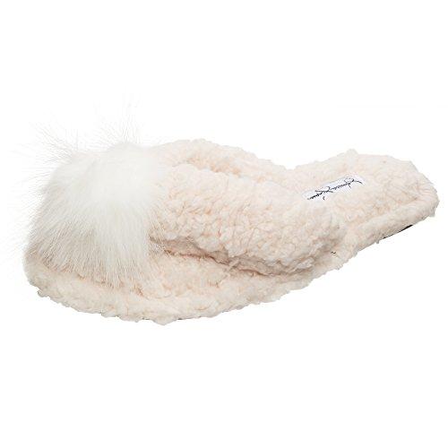 Jessica Simpson En Peluche Confortable Faux Shearling Thong Glisser Sur Pantoufles Femmes Ivoire Pom Pom Pantoufle