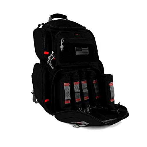 K-Cliffs Shooting Range Pistol Backpack | Up to 5 Handguns | Dedicated Mag Storage | Black ()