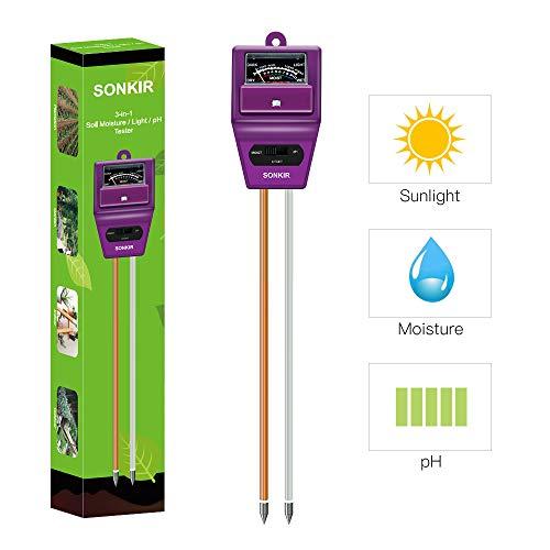 Sonkir Soil pH Meter, MS05 3-in-1 Soil Moisture/Light/pH Tester Gardening Tool Kits for Plant Care, Great for Garden, Lawn, Farm, Indoor & Outdoor Use (Purple)