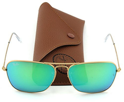 Ray-Ban RB3136 Caravan Unisex Sunglasses Flash Lens Series (Gold Frame/Green Flash Lens 112/19, - 3136 Ban Caravan Ray
