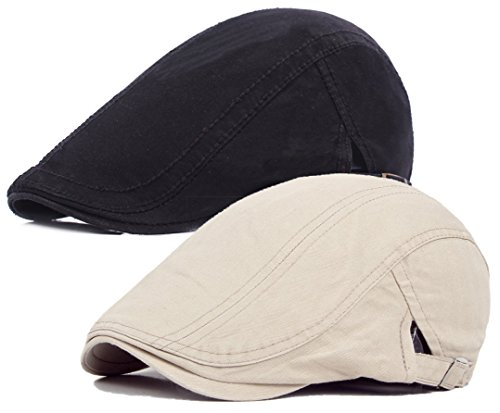 Qunson 2 Pack Men's Cotton Flat Newsboy Cap Ivy Gatsby (Scally Flat)