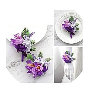 FAT BABY Wedding Boutonniere Wrist Corsage Bracelet Bridesmaid Men Corsage Purple Silk Roses Orchid Marriage Prom Wedding Supplies 27