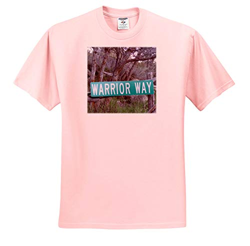 3dRose Jos Fauxtographee- Warrior Way - A Sign That says Warrior Way in Green Near a Forest - Adult Light-Pink-T-Shirt 2XL (ts_319014_38)