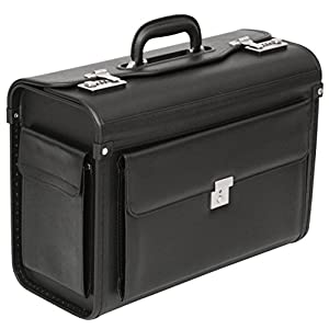 Tassia Executive Leather Look Pilot Case – Front Pocket Lock Protection – Pilotcase