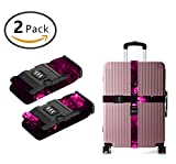 GXTEAY Long Cross Heavy Duty Luggage Strap for Suitcase 16''-32'', This Girl Loves Her Pit Bull 2 Pack