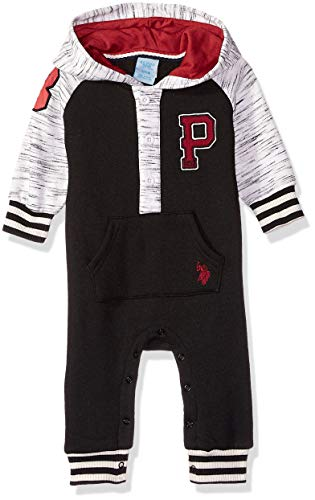 U.S. Polo Assn. Baby Boys Jumpsuit, Patch on Sleeve Burgundy, 3-6 Months