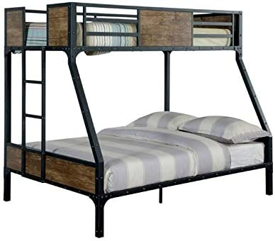 Furniture of America Baron Industrial Twin Over Full Metal Bunk Bed
