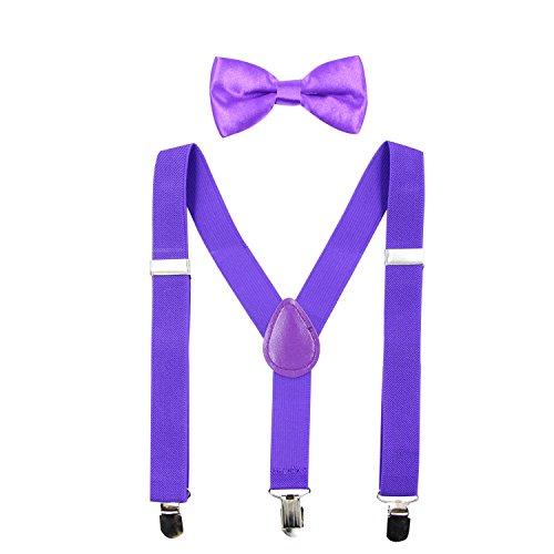 Hanerdun Kids Suspender Bowtie Sets Adjustable Suspender With Bow Ties Gift Idea For Boys And Girls, Purple, One Size from HANERDUN