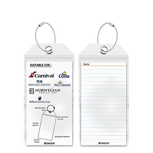 Cruise Tags 2 Pcs - PVC Luggage Tags With Zip Seal&Steel Loops For Cruise Ships