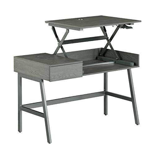 Techni Mobili RTA-3841SU-GRY Pneumatic Height Adjustable Standing Desk, Grey,