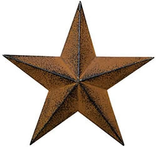 ACCENTHOME Country Steel Metal Barn Star Antique Rustic Country Primitive Barn Star Wall D cor 18 Red