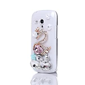 For Samsung Galaxy S3 Mini I8190 Bling Diamond Crystal Pink Swan Transparent PC Hard Case Cover
