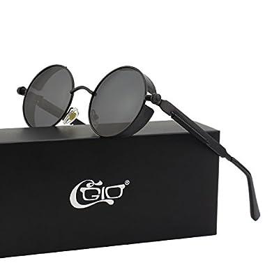 CGID E72 Retro Steampunk Style Inspired Round Metal Circle Polarized Sunglasses for Women Men