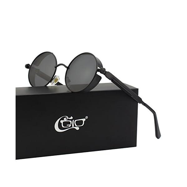CGID E72 Retro Steampunk Style Inspired Round Metal Circle Polarized Sunglasses for Women Men 4