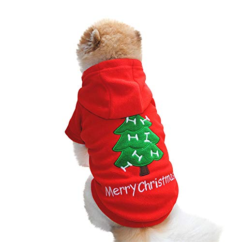 Geetobby Puppy Hoodies Thick Sweater Christmas Pet Dog Fleece Warm Coat Clothes ()