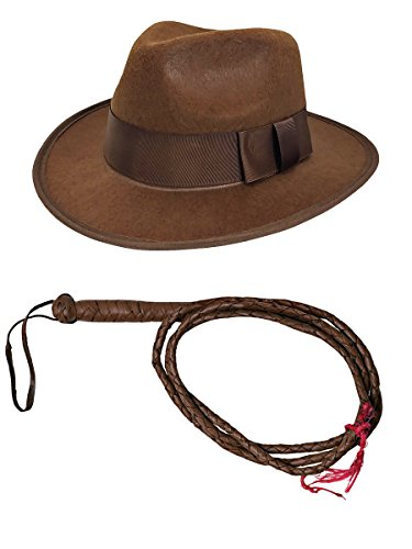 Mens Adventurer Whip Fedora Hat Costume Set, Brown, One Size