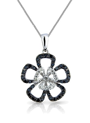 """Or blanc 9carats avec diamant blanc et noir ouvert Chaîne et Pendentif Tête Fleur-16""""/40cm -- 45,7cm/45cm--20""""/50mm"""