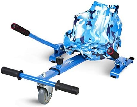 ECOXTREM Hoverkart, Asiento Kart, Multicolor Azul diseño Militar, con manillares Laterales, Barra Ajustable. Accesorio para patinetes eléctricos Hoverboard 65
