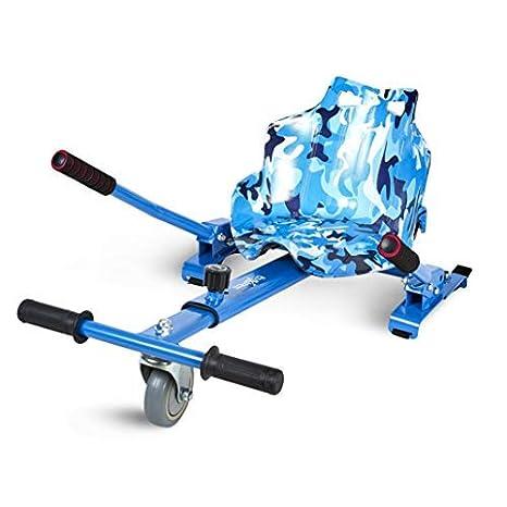 ECOXTREM Hoverkart, Asiento Kart, Multicolor Azul diseño Militar, con manillares Laterales, Barra Ajustable. Accesorio para patinetes eléctricos ...