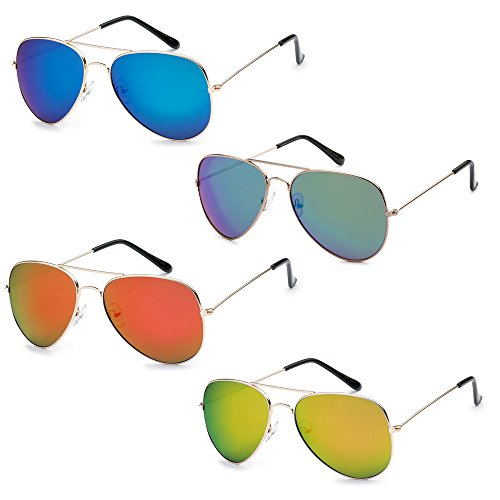 (WHOLESALE BULK LOT PROMOTIONAL UNISEX CLASSIC PILOT AVIATOR SUNGLASSES - 4 PACK)