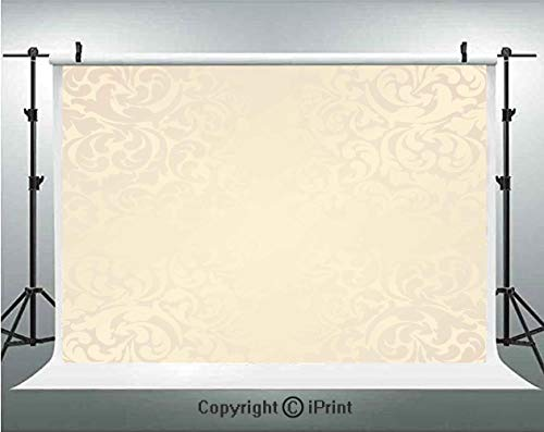 Ivory Photography Backdrops Classic Victorian Style Monochrome Damask Background with Swirl Floral Effects Artsy Print,Birthday Party Background Customized Microfiber Photo Studio Props,10x6.5ft,Cream