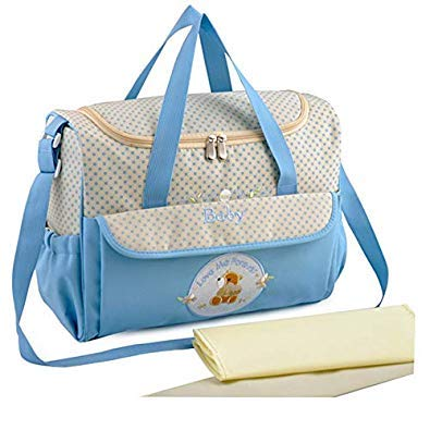 Bloomerang High Quality Mummy Baby Bag Multifunctional Baby Diaper Changing Shoulder Handbag Maternity Mother Stroller Bag for Mom color blueee