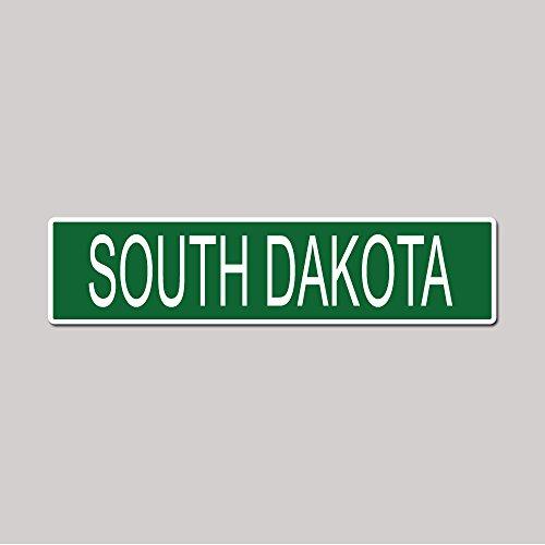 SOUTH DAKOTA State Pride Green Vinyl on White - 4X17 Aluminum Street Sign