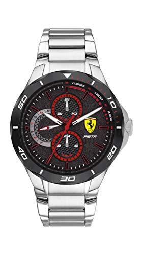 Scuderia Ferrari Men's Pista Quartz Watch with Stainless Steel Strap, Silver, 25 (Model: 0830726)