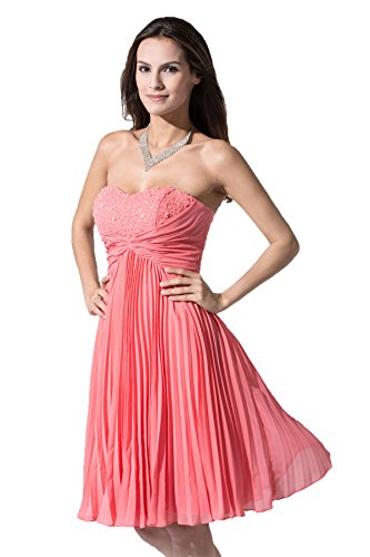 Snowskite Women's Sweetheart Knee Length Pleat Chiffon Bridesmaid Formal Dress Coral 24