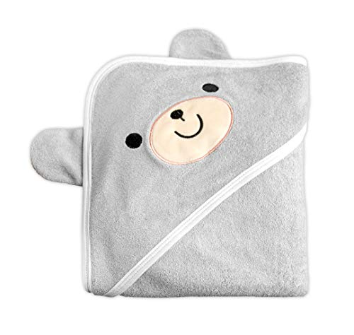 "Brooks & Becker Baby Hooded Towel w/Cute Animal Ears (35"" x 35"") Organic Bamboo, 500 GSM Thickness 