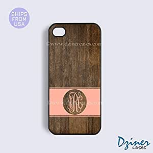 Personalized Your Initials iPhone 6 Case - 4.7 inch model - Wood Print Coral Stripes Circle iPhone Cover