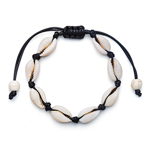 Fesciory Women Starfish Turtle Anklet Multilayer Adjustable Beach Alloy Ankle Foot Chain Bracelet Boho Beads Jewelry (Shell Anklet Black Rope)