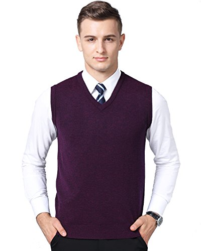 - Kinlonsair Mens Casual Slim Fit Solid Lightweight V-Neck Sweater Vest (X-Large(US), Purple)