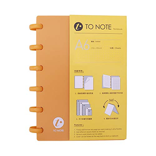 KW-trio Portable A6 Hardcover Loose Leaf Journal Notebook Refillable Writing Paper Mushroom Holes 6-Ring Binder Perfect for Travel Office Home School Students