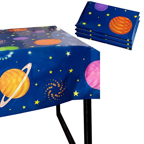 Outer Space Party Tablecloth - 3-Pack Disposable Plastic Rectangular Table Covers - Solar Planet Themed Party Supplies for Kids Birthday Decorations, Solar System Design, 54 x 108 Inches (Best Space Jam Juice)