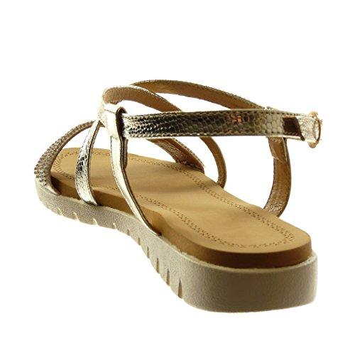 Angkorly Zapatillas Moda Sandalias Correa de Tobillo Mujer Multi-Correa Strass Piel de Serpiente Tacón Plano 2.5 cm Oro