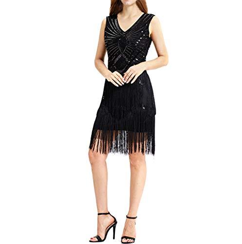 Pandaie-Womens Dresses, Women Vintage 1920s Bead Fringe Sequin Lace Party Flapper Cocktail Prom Dress ()