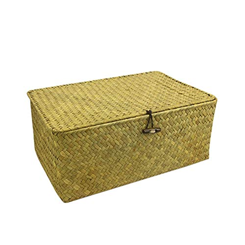 (lzndeal Storage Box,Space-Saving,Lids,Durable,Handmade Woven Seagrass Storage Box Sundry Storage Basket for Cosmetic Towel)