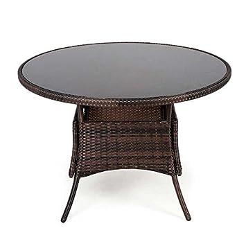 Outdoor Specials 105 cm Table de Jardin Ronde en rotin avec Plateau ...
